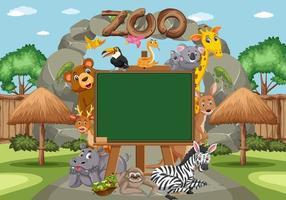 tableau vide avec divers animaux sauvages dans le zoo vecteur
