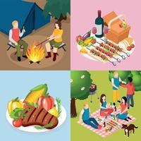 barbecue grill pique-nique isométrique icon set vector illustration