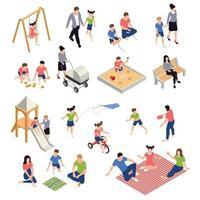 famille, jouer, icônes isométriques, ensemble, vecteur, illustration vecteur