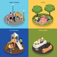 famille, jouer, concept, icônes, ensemble, vecteur, illustration vecteur