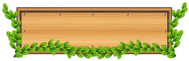 Un panneau en bois vide avec une plante vecteur