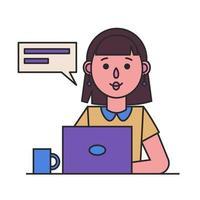 fille travaillant avec un ordinateur portable. femme secrétaire ou employée de bureau vecteur