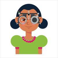 bilan de vision des enfants en clinique ophtalmologique. optométriste vecteur
