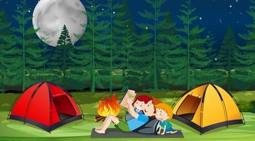 Un camping familial en forêt