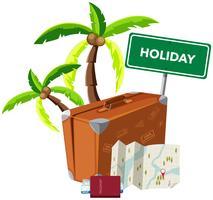 Objet de vacances sur fond blanc