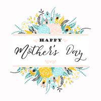 Bonne fête des mères lettrage carte de voeux avec des fleurs.