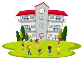 Etudiants jouant à l'école