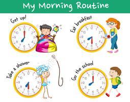 Routines du matin avec des horloges et des enfants vecteur
