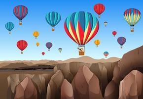 Voyage en montgolfière vecteur