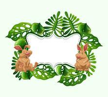 Conception du cadre avec deux lapins vecteur