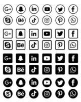collection d'icônes de médias sociaux en noir et blanc vecteur