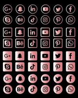 collection d'icônes de médias sociaux métalliques roses vecteur