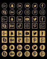 collection d'icônes de médias sociaux dorés vecteur