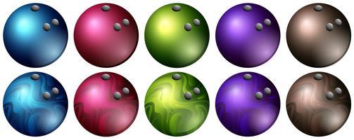 Boules de bowling de différentes couleurs vecteur