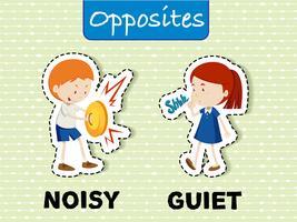 Mots opposés pour bruyant et calme vecteur