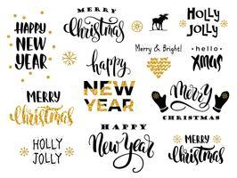Joyeux Noel et bonne année. Calligraphie de lettrage de vecteur