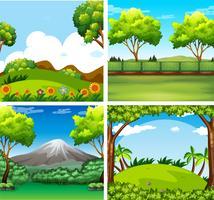 Quatre scènes de fond avec des arbres et un champ