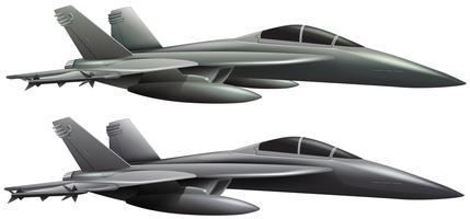 Deux avions à réaction sur fond blanc