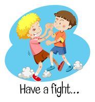 Wordcard pour se battre avec deux garçons qui se battent vecteur