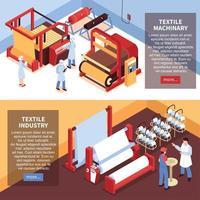 bannières de l'industrie textile isométrique vector illustration