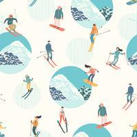 Illustration vectorielle des skieurs et des snowboarders. Modèle sans couture. vecteur