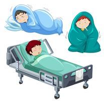 Les enfants sont malades au lit vecteur