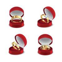boîte à bijoux bagues set vector illustration
