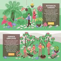 jardin botanique bannières horizontales vector illustration