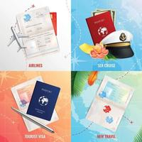 Voyage par air et mer concept design 2x2 illustration vectorielle vecteur