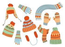 chapeaux et casquettes en tricot d'hiver. style vectoriel dessiné à la main. accessoires chauds