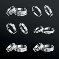 bijoux anneaux ensemble réaliste illustration vectorielle vecteur