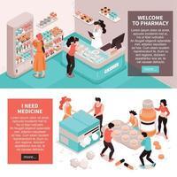 concept de pharmacie bannières horizontales vector illustration