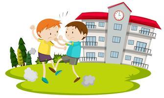 Jeune garçon se battant devant l'école