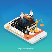 illustration vectorielle de composition de conseils juridiques en ligne vecteur