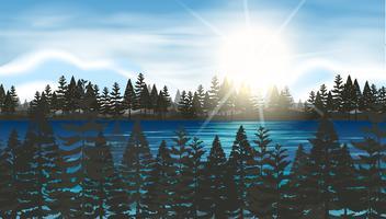 Forêt de pins au bord du lac vecteur
