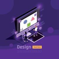 personnes isométriques et interfaces lueur concept vector illustration