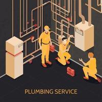 illustration vectorielle de l'équipe de service de plomberie vecteur