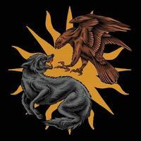illustration de loup de combat d'aigle vecteur