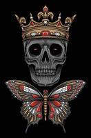 illustration de crâne de papillon roi vecteur