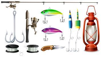 Matériel de pêche avec canne et hameçons vecteur