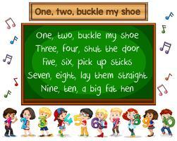 Un deux boucle mon concept de tableau chanson chanson de chaussure