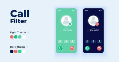 ensemble de modèles vectoriels d'interface de smartphone de dessin animé de filtre d'appel vecteur