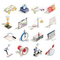 planification d'entreprise icônes isométriques vector illustration