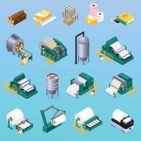 icônes de production de papier mis en illustration vectorielle vecteur