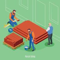 Carrelage porche fond isométrique vector illustration