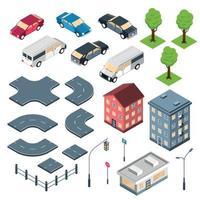 éléments de la ville ensemble isométrique illustration vectorielle vecteur