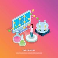 expérience scientifique fond isométrique vector illustration