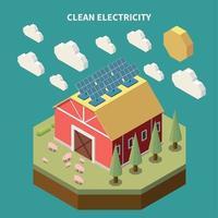 énergie solaire, grange, composition, vecteur, illustration vecteur
