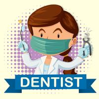 Femme dentiste avec dent et outils vecteur