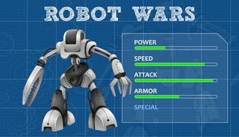 Conception de robot avec tableau des caractéristiques spéciales vecteur